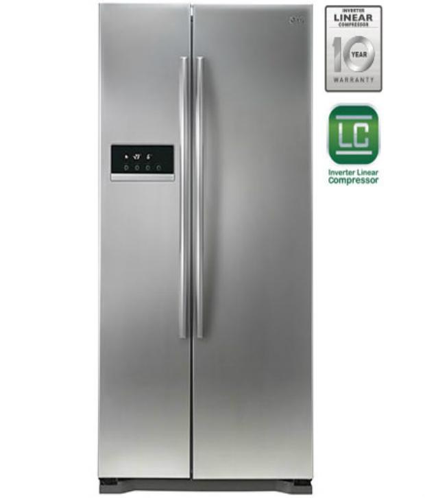 Lg 581 Ltr Gc B207glqv Side By Side Refrigerator Platinum